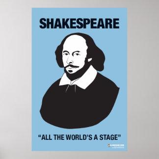 Affiche bleue de salle de classe de Shakespeare