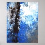 Affiche bleue et grise d'art abstrait