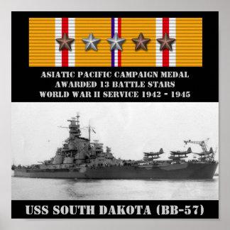 AFFICHE D USS LE DAKOTA DU SUD BB-57