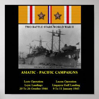 AFFICHE D USS LE MONT OLYMPE AGC-8