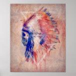 Affiche de crâne de Natif américain