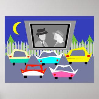 Affiche de film drive-in de petite ville