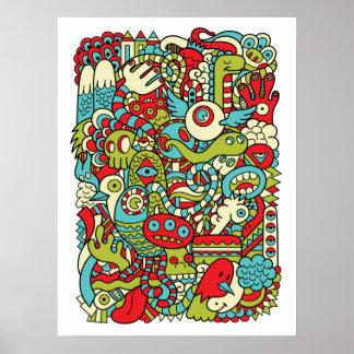 Affiche de griffonnage de hippie d amusement