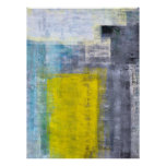 Affiche de gris, turquoise et jaune d'art abstrait
