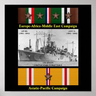 AFFICHE DE L ANCON D USS AP-66 AGC-4