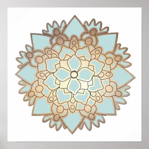 Affiche de mandala de fleur de Lotus bleu