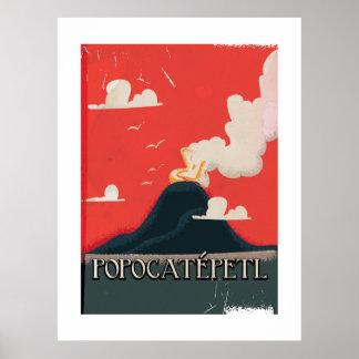Affiche de voyage de volcan de Popocatépetl
