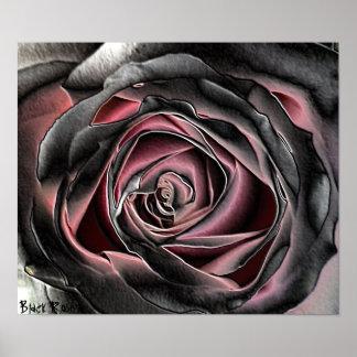 Affiche d'impression de toile de rose de noir