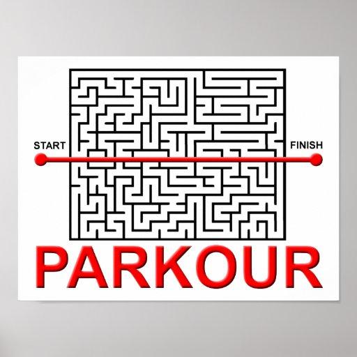 Affiche drôle de labyrinthe de Parkour