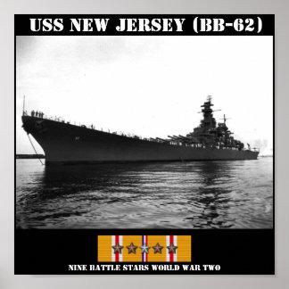 AFFICHE DU NEW JERSEY D'USS (BB-62)