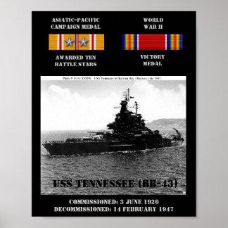 AFFICHE D'USS TENNESSEE (BB-43)
