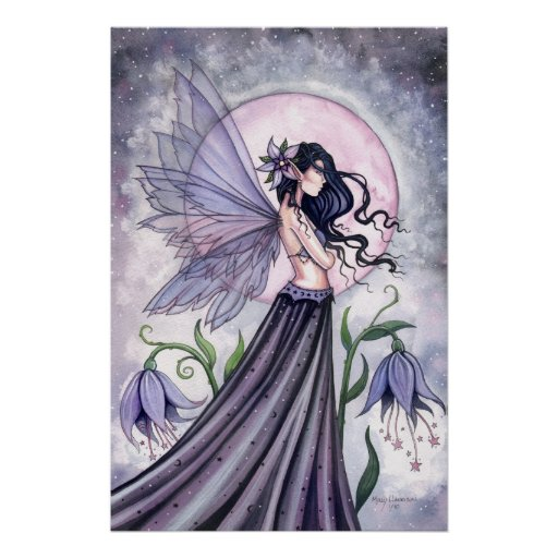 Affiche féerique de nuit mystique par l'aquarium p