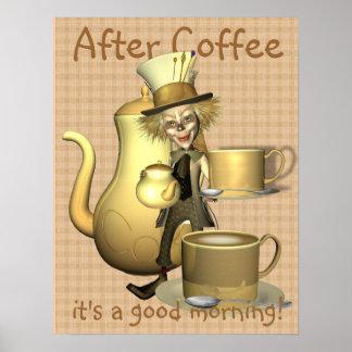Affiche folle de chapelier d'amant de café