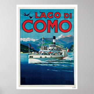 """Affiche italienne vintage de voyage de """"Lago di Co"""