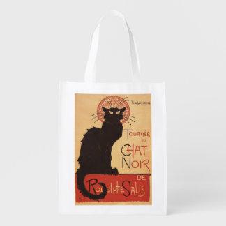 Affiche Noir de promo de chat noir de troupe de Sacs D'épicerie Réutilisables