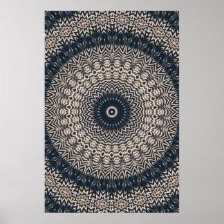 Affiche noire et blanche de mandala de hibou
