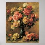 Affiche ou copie de beaux-arts de roses de Renoir