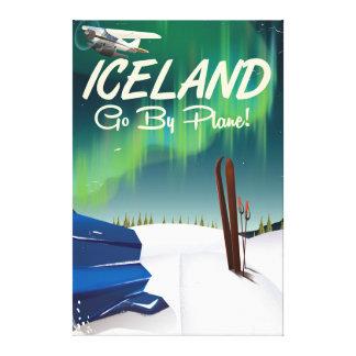 Affiche plate vintage de voyage de l'Islande Toiles