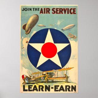 Affiche recruteuse de service aérien