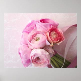 affiche rose de bouquet de ranunculus