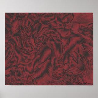 Affiche rouge d'impression de toile de Peoni