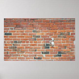Affiche rouge vintage de texture de mur de briques