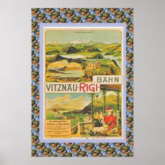 Affiche suisse vintage Vitznau Rigi Bahn