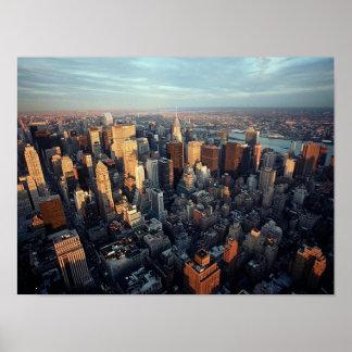 AFFICHE Sun sur le bâtiment ~Distant de New York C