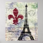 Affiche vintage d'art de la France de Tour Eiffel