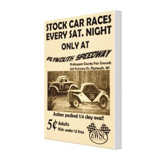 Affiche vintage de courses de voiture courante sur toiles