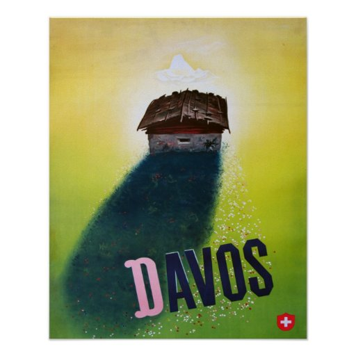 Affiche vintage de ski, Davos