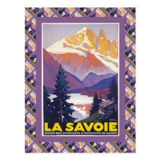 Affiche vintage de ski, France, La la Savoie, Cartes Postales