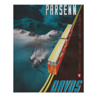 Affiche vintage de ski, Parsenn, Davos