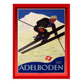 Affiche vintage de ski, Suisse, Adelboden Cartes Postales