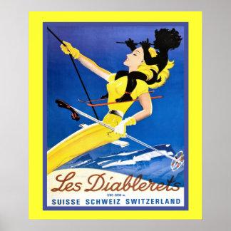 Affiche vintage de sports d hiver