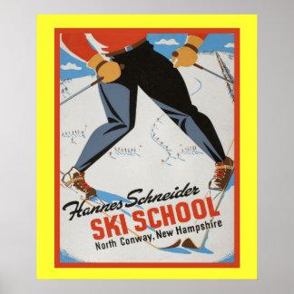 Affiche vintage de sports d'hiver