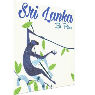 Affiche vintage de vacances de singe du Sri Lanka Toiles