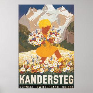Affiche vintage de voyage de Kandersteg Suisse