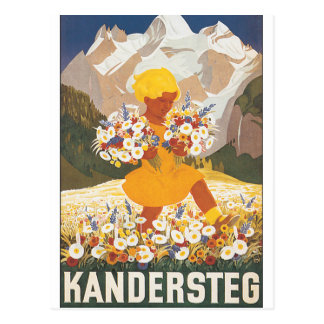 Affiche vintage de voyage de Kandersteg Suisse Cartes Postales