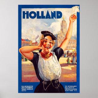 Affiche vintage de voyage de la Hollande