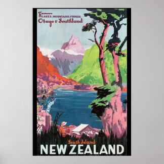 Affiche vintage de voyage de la Nouvelle Zélande