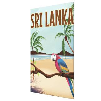 Affiche vintage de voyage de plage du Sri Lanka Toiles