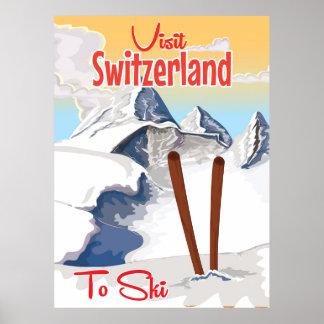 Affiche vintage de voyage de ski de la Suisse