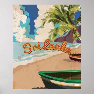 Affiche vintage de voyage de vacances du Sri Lanka