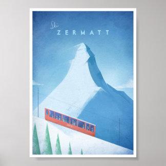 Affiche vintage de voyage de Zermatt de ski