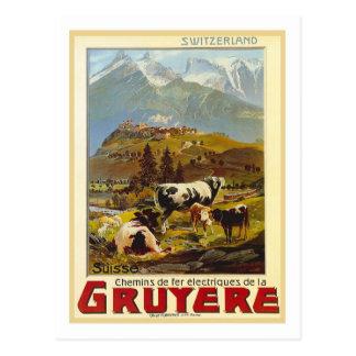 Affiche vintage de voyage, gruyère cartes postales