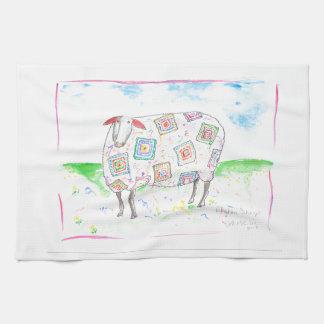 Afghanische Schafe auf einem Set Teetüchern Handtuch