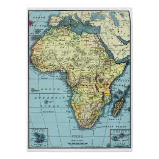 Afrika 1890 Vintages Karten-Plakat Poster