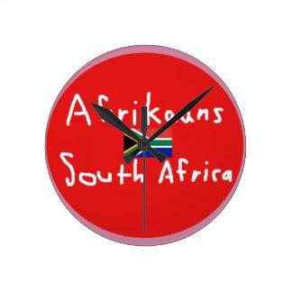 Afrikaans-Südafrikasprache und -flagge Runde Wanduhr