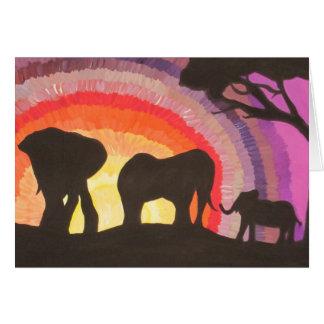 Afrikanische Elefant-@ Sonnenuntergang (Kunst Karte